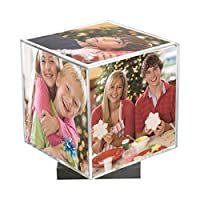 """Clear Spinning Photo Cube with Silver Base, Holds Five 3.5"""" x 3.5"""" Photos [並行輸入品]"""