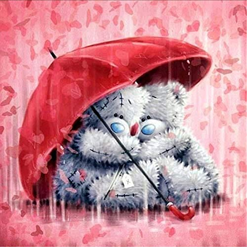 """5D Diamond Painting Kits for Adults Kids, Puppet Bear Love Rain Warm Red Uumbrella Full Drill Paint with Diamonds,Wall Paintings for Living Room Diamond Arts Canvas for Home Decor 11.8x11.8"""""""