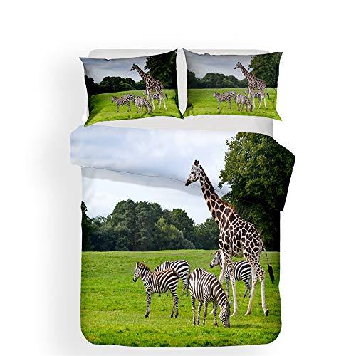 Hiser Duvet Cover Set 3 Pieces - 3D Giraffe Printed Bedding Sets for Boy Girl Bedroom Single Double King Bed - Microfiber Quilt Case with Pillowcases (Giraffe H,220x260cm)