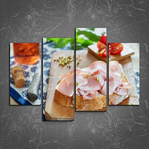 PeeNoke Wall Art: Sandwich with mortadella Handmade Rose Stock Pictures Royalty Free Print On Canvas Wall Decor Painting for Home Modern Decor 4 Panel