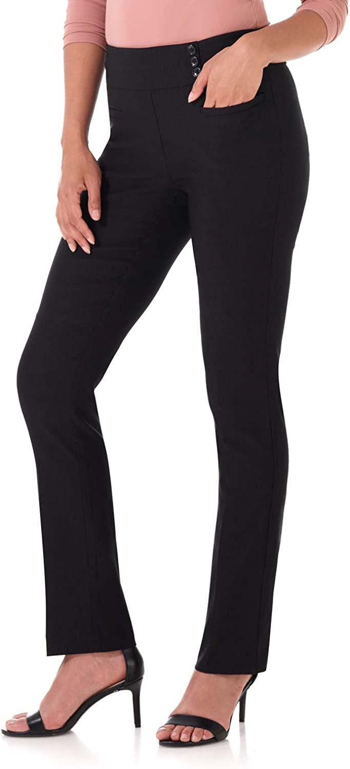 Rekucci Women's Ease Into Comfort Everyday Chic Straight Pant w/Tummy Control