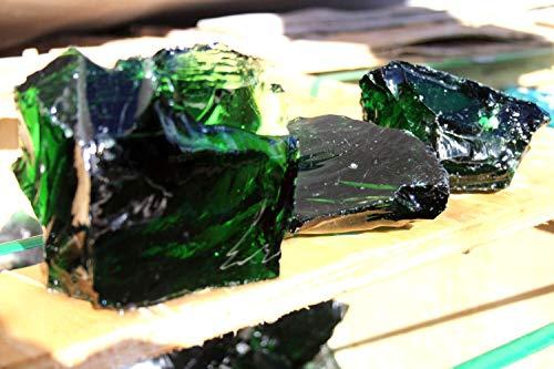 Steingrau Glasbrocken Glassplitt Dekoglas Gabionen Korngrößen 60-120mm grün 10 kg