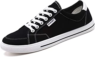 Shangruiqi Fashion Sneakers for Men Casual Skater Sports Shoes Low Top Lace Up Stitch Canvas Walking Shoes Round Toe Anti-Slip Anti-Wear (Color : Black, Size : 8 UK)