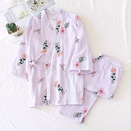 XFLOWR Katoenen gaas voor dames, volledig katoen, pyjamaset, kruis stijl, Japans, kimono, eenvoudige stijl, sauna-draagset