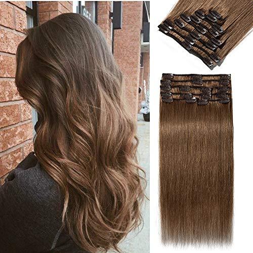 Extensions Echthaar Clip in 8 Tressen 18 Clips Normal Günstig Glatt Haarteil Weich Haarverlängerung 100% Human Hair 33cm-80g 06# Hellbraun