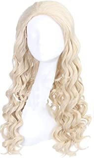 Xcoser White Queen Wig Alice Cosplay in Wonderland Film Long Wave Cosplay Wig Adult Halloween