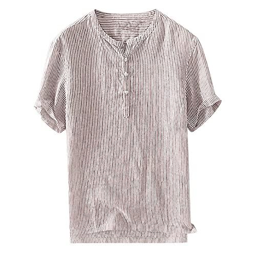 QiFei Shirt Empfohlen Männer Baumwolle Leinen Solide Kurzarm Button Retro T Shirts Tops Bluse Stehkragenhemd Vielseitige Kleidung Mode äUßEres Hemd Strandmantel Einfach