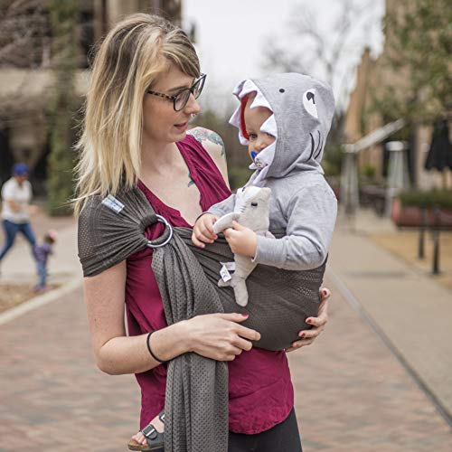 Beachfront Baby - Versatile Water & Warm Weather Ring Sling Baby Carrier | Made in USA with Safety Tested Fabric & Aluminum Rings | Lightweight, Quick Dry & Breathable (Baby Shark, One Size)