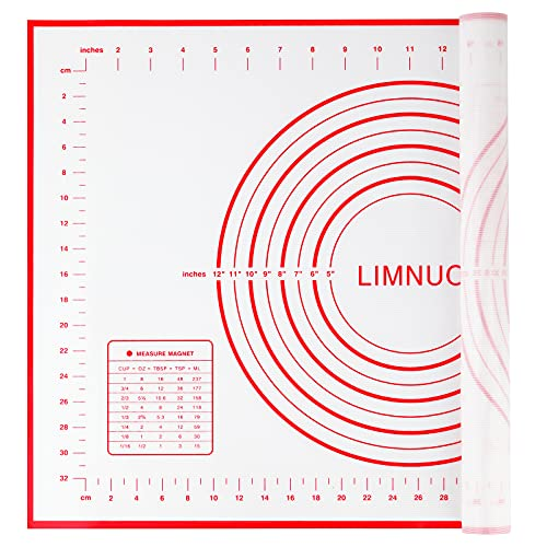 LIMNUO Large Silicone Pastry Mat Extra Thick Non Stick Baking Mat Non Stick Rolling Dough with Measurements-Non Slip,Reusable ,Counter Mat, Dough Rolling Mat, Oven Liner, Pie Crust Mat