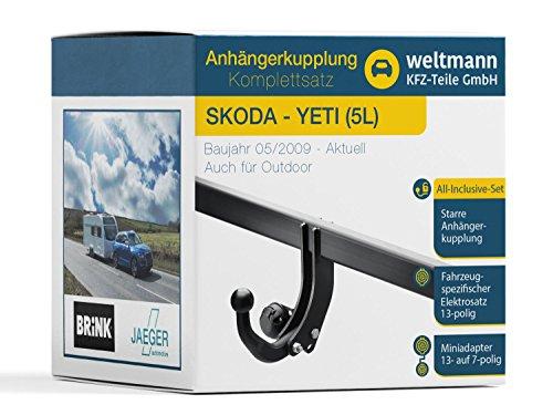 Weltmann 7B220003 geeignet für Skoda YETI (5L) - Starre Anhängerkupplung inkl. fahrzeugspezifischem 13-poligen Elektrosatz