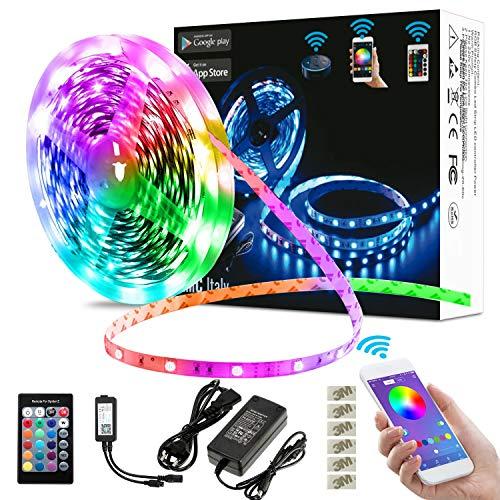 EMC Italy Striscia LED RGB 5M | 300 LED Smart Strip 5050SMD WiFi | Compatibile con Amazon Alexa e Google Home | Kit Nastro LED Intelligente Music Sync | Impermeabile IP65 | Per Interno/Esterno