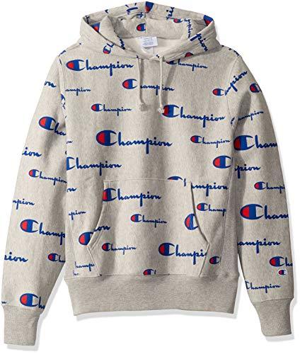 Champion Life Herren Reverse Weave Pullover Hoodie All-Over Print Kapuzenpulli, Oxford Grey, XX-Large