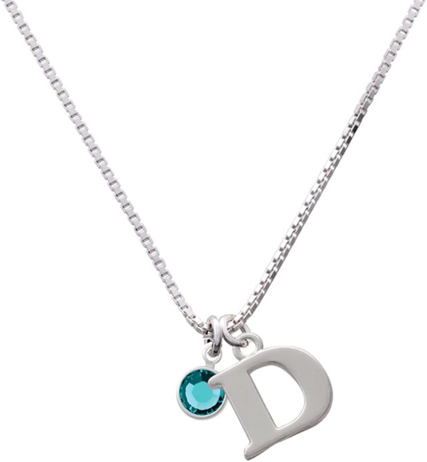 Delight Jewelry Crystal Teal Channel Drop Capital Initial Necklace