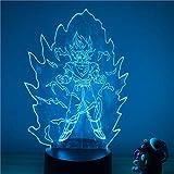 Dragon Ball Z Goku Super Saiyan Flashing Ver. 3D LED Night Light 7 colores Touch Illusion Optical Figura de acción Lámpara Decoración