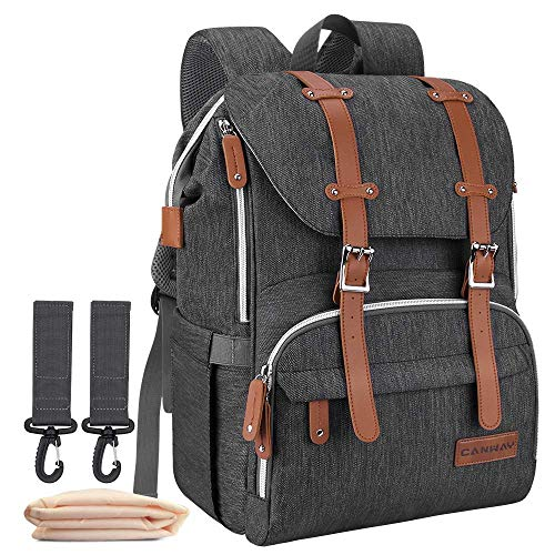Diaper Bag Backpack, CANWAY Multifunction Travel Nappy Diaper Bag Maternity Baby Bag Unisex with Changing Pad and Stroller Straps, Dividable Compartment Large Capacity, Waterproof and Stylish, Black