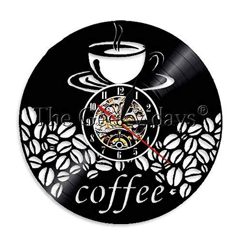 Kinder Camping Nachtlicht 1 Kaffeetasse und Bohnen Vintage Küche Café Bar Wandkunst Vinyl Schallplatte Wanduhr LED Licht Café Kristall Chrom Glas Tischlampe