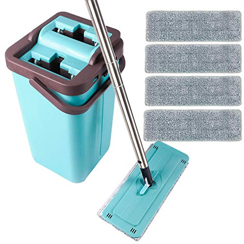 Moppson Flat Mop and Bucket System with Wringer for Floor Cleaning with 4 Washable Microfiber Mop Pads