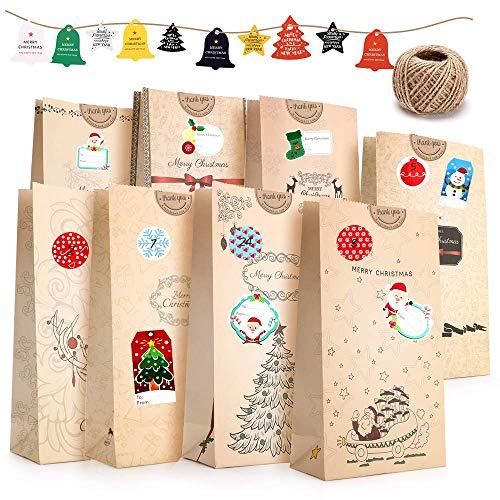ASANMU Adventskalender zum Befüllen 24 Kraftpapiertüten Braun mit Boden+Adventskalender Zahlen+Aufkleber+Jute Kordel+Anhänger, DIY Osterhasen Tüten Weihnachten Geschenktüten Papier Beutel Papiertüten