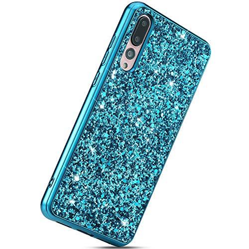 Herbests Kompatibel mit Huawei P20 Pro Handyhülle Glitzer Bling Sparkle Kristall Strass Diamant Schutzhülle Weiche TPU Bumper Silikon Hülle Case Handytasche Ultradünn Cover,Blau