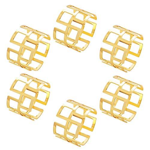 Huixindd 6 unids aleación Cuadrada Hueco servilleta Anillo Cena Oro y Plateado Color servilleta Toalla servilleta Tabla de vajilla Anillo Hebilla Mesa decoración (Color : Gold)