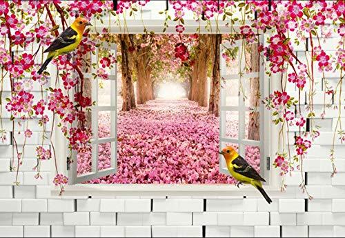 Fototapete Wandbilder 3D Effekt Backsteinmauer Fenster Blumen Weinstock Wald Tapete 3D Vliestapete Tapeten Wandbild Tapeten Wohnzimmer Tv Wanddeko 250x175 cm