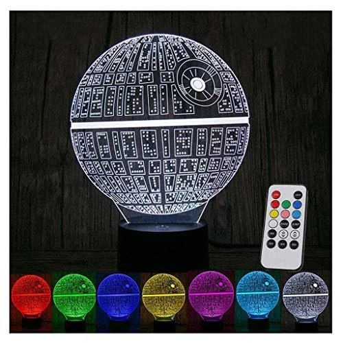 Star Wars Todesstern, Remote Touch Illusion Mini Tischlampe für Kinder Geburtstagsgeschenk Schlafzimmer Art Deco Skulptur Licht, 7 Farbänderungen