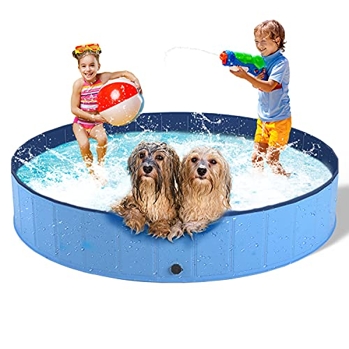 """Foldable Dog Pool for Large Dogs Hard Plastic Kiddie Pool, Portable Pet Bath Tub Outdoor Swimming Pool for Dogs Cats and Kids (Light Blue L: 12"""" 63""""(30160cm))"""