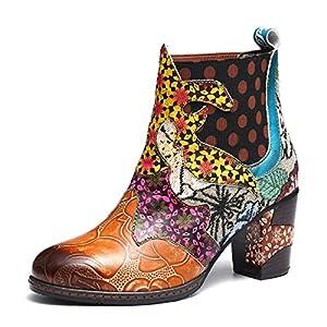 gracosy Botines de Mujer 2019 Cuero Invierno Tacon Alto Forro de Piel Botas de Botas de Nieve Botas de Bajo Zapatos… | DeHippies.com