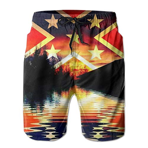 Flag Men's Beach Pants Beach Shorts 3D Quick Dry Swim Sweatpants Waist Board Shorts,Baggy Adjustable Elastic Drawstring Gym Shorts Lightweight and Thin Wear Resistant Xx-Large