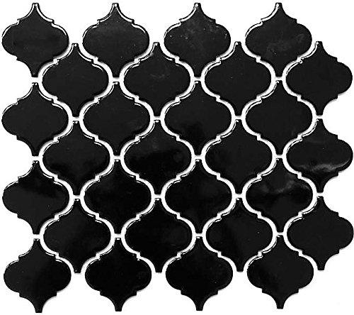 Retro Vintage Mosaik Fliese Keramik Florentiner schwarz glänzend für BODEN WAND BAD WC DUSCHE KÜCHE FLIESENSPIEGEL THEKENVERKLEIDUNG BADEWANNENVERKLEIDUNG WB13-2BG