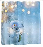 GYMNLJY Weihnachten Schneemann Feuerwerk drucken 3D wasserdichte Duschvorhang Polyester Blackout Bad Dusche Rollo für Bad , 180x200