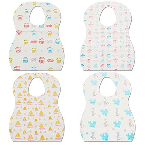 LncBoc Pack de 40 baberos desechables para bebé, baberos ajustables para viajes, para viajes, lindos protectores de ropa de bebé para bebés y niñas