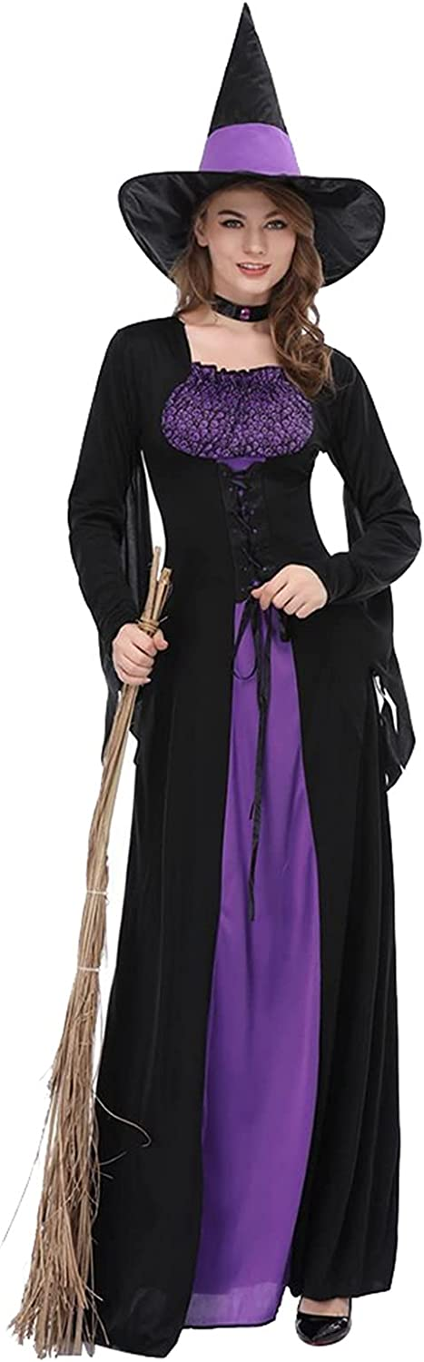 GDYJP Halloween Decorations Props Free shipping on posting reviews Women Max 86% OFF Black Dress Purple Witch