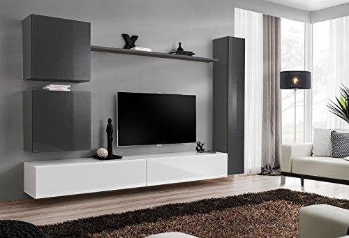 all4all Wohnwand Hochglanz Anbauwand Schrankwand Fernsehwand Wohnzimmerset Lowboard Kleine Wohnwand Fernsehschrank SW 8 (Grau - Weiß - Mauri)