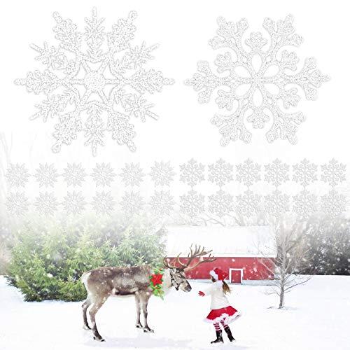 Yisscen 24 Piezas de Adornos de Copo De Nieve de Plástico Brillante Adornos de Copo de Nieve Colgantes de Navidad De Invierno, Árbol de Navidad Fiesta de Navidad Decoraciones para el Hogar(Plateado)