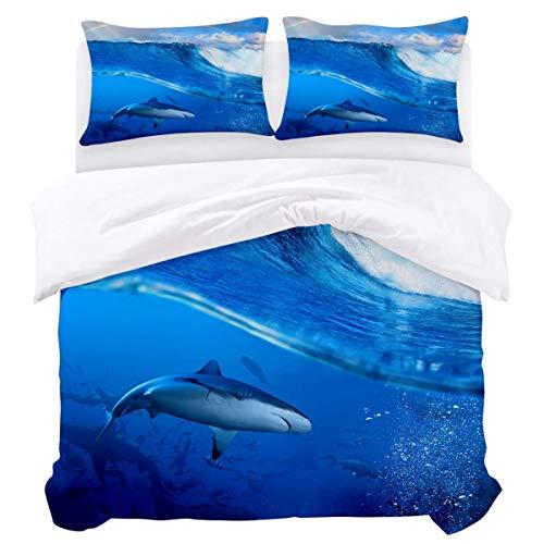 Bettbezug-Set, 3-teiliger, ultraweicher, leichter Bettbezug aus Mikrofaser-Bettdecke mit Reißverschluss, Krawatten - Ocean Shark Unterwasserwelt-Regenbogendruck Pflegeleicht...