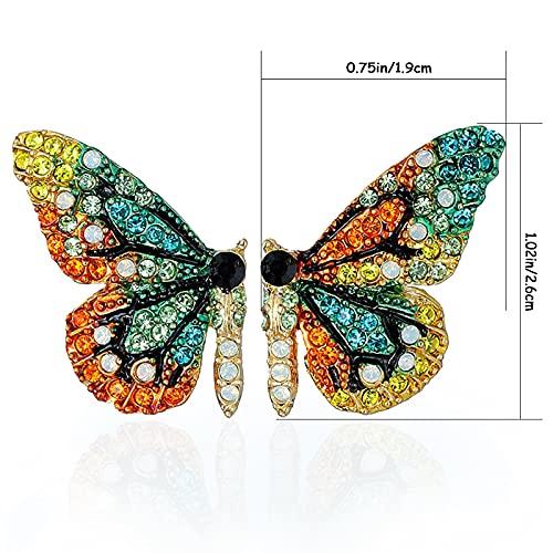 RUIYELE 2 pares de pendientes de mariposa de cristal para mujer, pendientes de mariposa con diamantes de imitación para mujeres y niñas