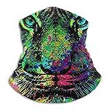 N/A Bandana Calentador De Cuello,Protección Colorida De La Cara del Tigre del Goteo, Venda Decorativa De La Protección Ultravioleta para El Adulto Interior,25X30Cm