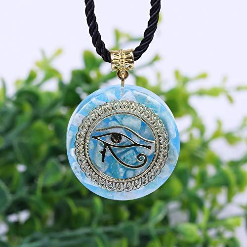 N/ Colgante de energía Amazon Stone Necklace Horus Eye All-Seeing Eyes Collar del Ojo del Diablo Amuleto Joyería magnética