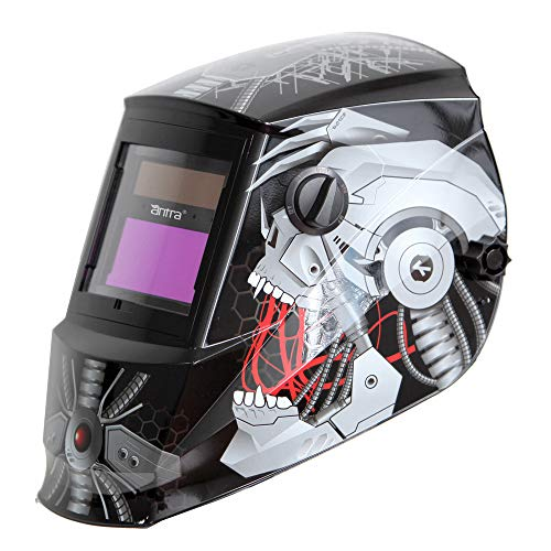 Antra AH6-260-6320 Auto Darkening Welding Helmet Wide Shade Range 4/5-9/9-13 Engineered for TIG MIG/MAG MMA Plasma Grinding, Solar-Lithium Dual Power, 6+1 Extra Lens Covers