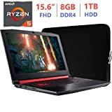 Acer Nitro 5 Gaming AN515 15.6-inch FHD(1920x1080) Laptop PC, Quad-Core AMD Ryzen 5 2500U 2.0GHz, Radeon RX 560X GDDR5, 8GB RAM, 1TB HDD, Backlit Keyboard, USB Type-C, Windows 10 Home w/Sleeve