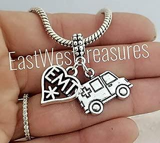 EMT paramedic Ambulance Charm Bracelet, Charm Necklace, Keychain, Jewelry gift for men women her