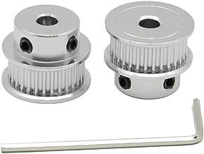 ReliaBot 2PCs Aluminum 2GT Timing Pulley 30 Teeth Bore 5mm for 3D Printer 6mm Width 2GT Timing Belt