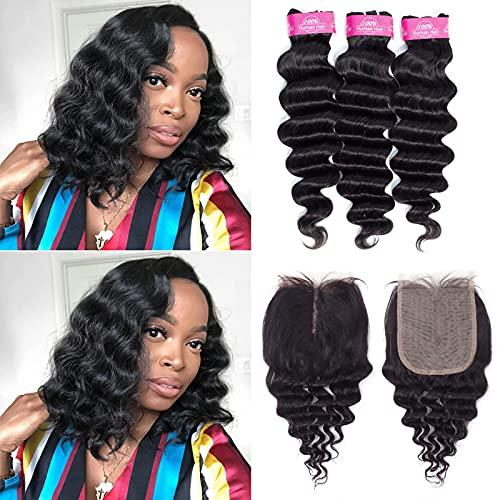 Loose Deep Wave Bundles with T Part Closure Brazilian Human Hair(10 12 14+10)Brazilian 10A Virgin Hair Bundles with Closure Loose Deep Curly Weave 3 Bundles with 4x4x1 T Part Lace Closure 70g/Bundles