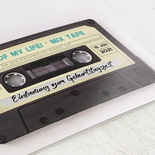 Einladungskarten Geburtstag, Kassette, 50. Geburtstag 5er Klappkarten-Set C6, personalisiert mit Wunschtext, wahlweise mit persönlichen Bildern und optional mit passenden Design-Umschlägen