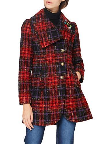 Joe Browns Asymmetric Collar Coat Cappotto, Colore: Rosso e Multicolore, 40 Donna