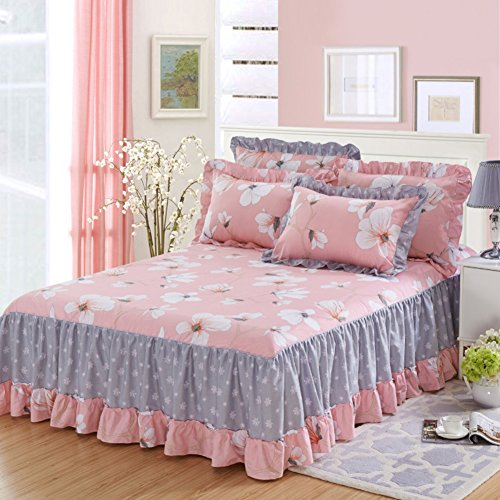 Review Bedskirt Pleated Ruffled Bed Skirt,Bed wrap Around Style Three Fabric Sides Frilled Valance W...