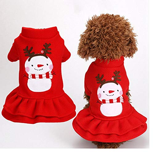 MUXIAND Rode Kerstmis Sneeuwman Patroon Hond Kleding Hond Prinses Jurk Shirt Puppy Jurk Kostuum Kat Jas Voor Kleine Honden Katten Yorkshire, L