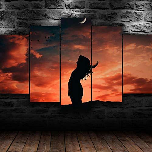 IMXBTQA Impresión En Lienzo 5 Piezas Cuadro sobre Lienzo,5 Piezas Cuadro En Lienzo,5 Piezas Lienzo Decorativo,5 Piezas Lienzo Pintura Mural,Regalo,Decoración Hogareña Chica Puesta De Sol Grati
