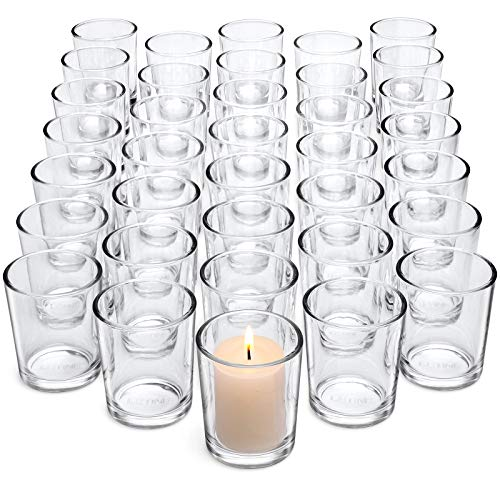 Letine Clear Glass Tealight Candle Holder - Glass Votive Candle Holders Bulk Set of 36 - Clear Candle Holder for Wedding Propose Parties Holiday and Room/Bathroom/ Bedroom/Home Decor